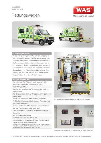 WAS 500 Rettungswagen RTW Mercedes-Benz Sprinter Kofferaufbau Typ III/ICU 5 T