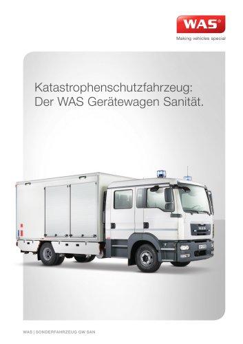 WAS 900 Katastrophenschutzfahrzeug Gerätewagen Sanität MAN TGL Kofferaufbau 10 T