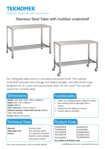 Table with multi bar with shelf