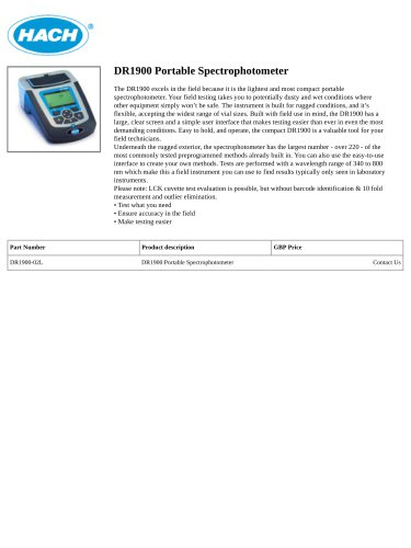 DR1900 Portable Spectrophotometer