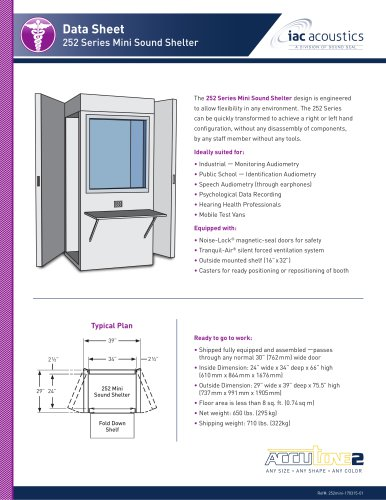 Data Sheet 252 Series Mini Sound Shelter