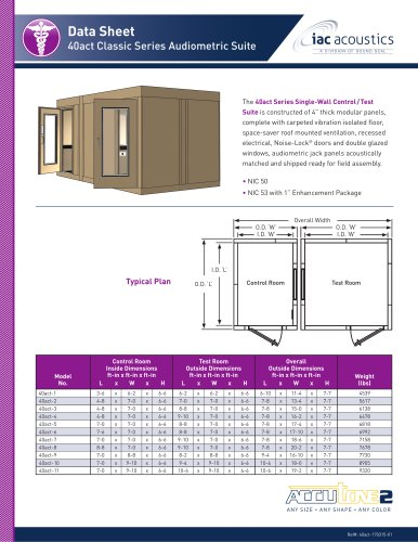 Data Sheet 40act Classic Series Audiometric Suite