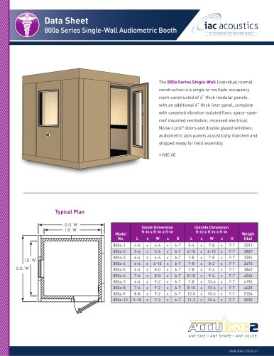 Data Sheet 800a Series Single-Wall Audiometric Booth