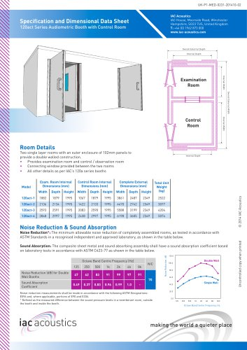 Specification and Dimensional Data Sheet 120act Series Audiometric Booth with Control Room